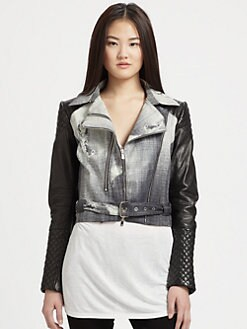 Rebecca Minkoff - Denim-Print Leather Kiefer Jacket