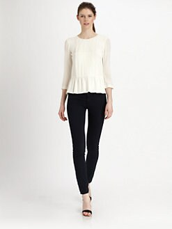 Tibi - Pearl Chiffon Peplum Top
