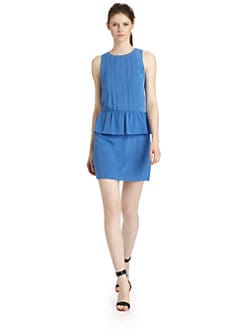 Tibi - Pearl Silk Pintucked Peplum Dress