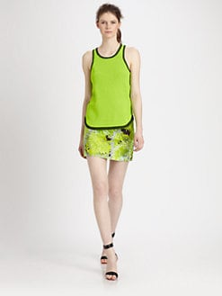Tibi - Neon Plaited Racerback Top