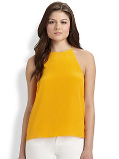 Tibi - Solid Silk Halter Top