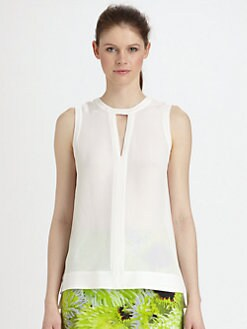 Tibi - Solid Silk Splitneck Top