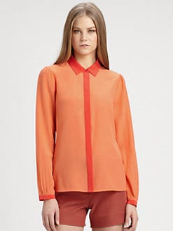 Rachel Zoe - Simone Silk Colorblock Blouse