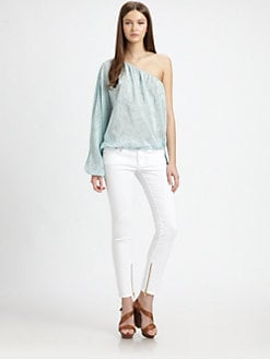 Rachel Zoe - Shannon Silk One-Shoulder Dolman-Sleeved Top