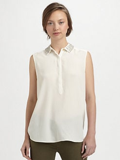 Rebecca Taylor - Beaded-Collar Top