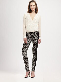 Robert Rodriguez - Lace Illusion Silk Blouse