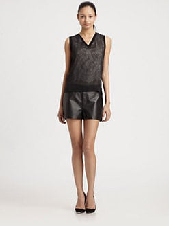 Robert Rodriguez - Lace Illusion Silk Jersey Top