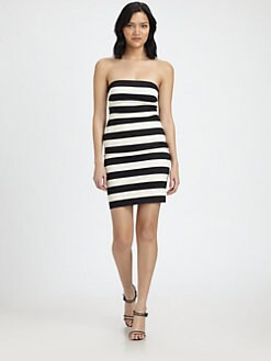 Robert Rodriguez - Graphic Stripe Strapless Dress