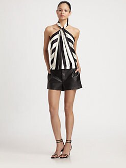 Robert Rodriguez - Striped Silk Halter Top