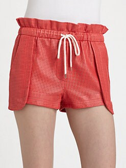 Rebecca Minkoff - Mika Perforated Leather Shorts