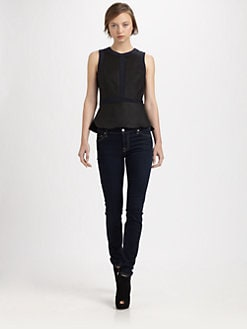 Rebecca Taylor - Leather Peplum Top