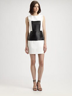 Tibi - Amelie Leather Panel Dress
