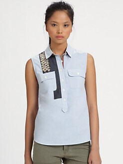 Sachin + Babi - Magnolia Embellished Chambray Cotton Shirt
