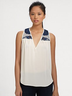 Sachin + Babi - Jude Embroidered Stretch Silk Top