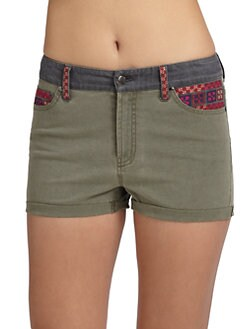 Sachin + Babi - Ariella Embroidered Cotton Shorts