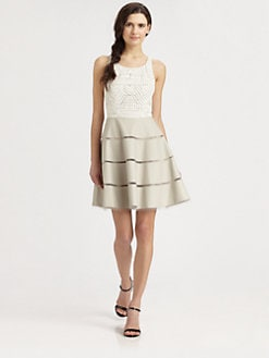 Sachin + Babi - Mesh & Faux Leather Dress
