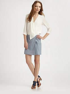 Tibi - Linen Twill Wrap Dress