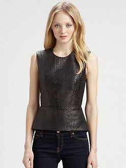 Mason by Michelle Mason - Leather-Front Peplum Top
