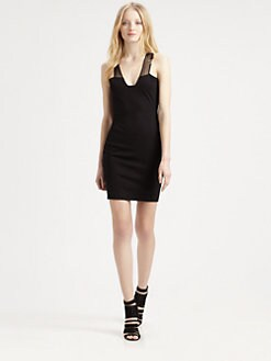 Mason by Michelle Mason - Sleeveless Plunge Neck Dress