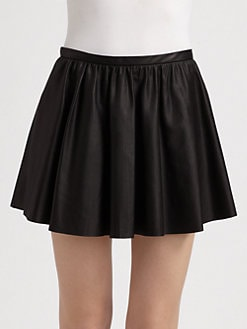Mason by Michelle Mason - Gathered Leather Skirt