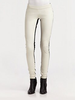 Mason by Michelle Mason - Contrast Leather Leggings