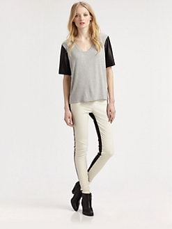 Mason by Michelle Mason - Leather-Sleeve Tee