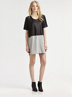 Mason by Michelle Mason - Leather-Front Tee Dress
