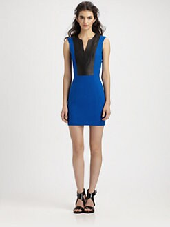 Mason by Michelle Mason - Leather Inset Dress