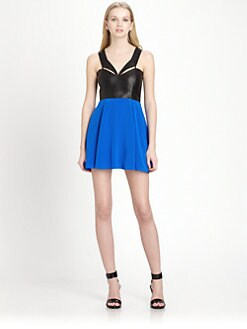 Mason by Michelle Mason - Silk & Leather Dress