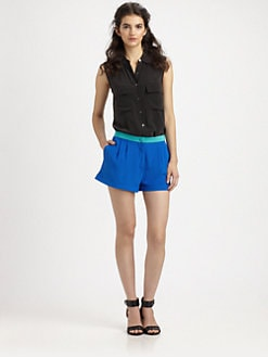 Mason by Michelle Mason - Two-Tone Silk Shorts