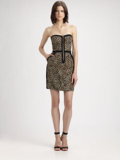 Rebecca Taylor - Leopard Print Strapless Dress