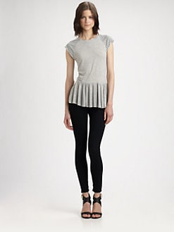 Rebecca Taylor - Nailhead Peplum T-Shirt