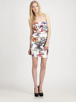 Royal Underground - Butterfly Print Strapless Dress