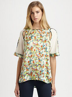Rebecca Minkoff - Acid Bloom Sade Silk Top