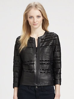 Grayse - Beaded Leather Jacket