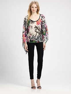 Grayse - Silk Bell-Sleeve Top