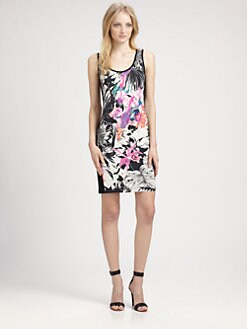 Grayse - Sleeveless Floral-Print Dress