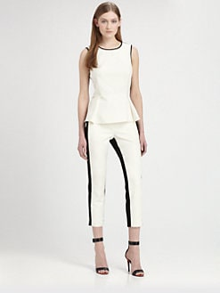 Tibi - Colorblock Peplum Blouse