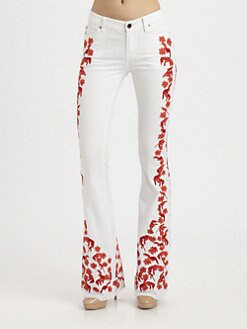 Rebecca Minkoff - Tropical Embroidered Flare Jeans