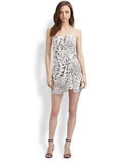 Zimmermann - Silk Leopard Print Strapless Dress