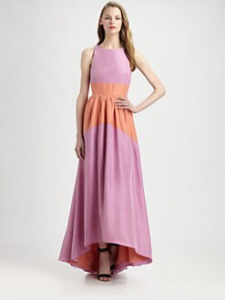 Tibi - Silk Colorblock Maxi Dress