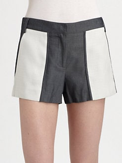 Tibi - Colorblock Denim Shorts