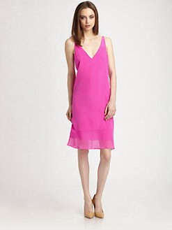Tibi - Hannah Silk V-Neck Dress