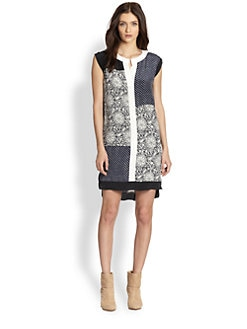 Rebecca Taylor - Mixed Print Silk Shift Dress