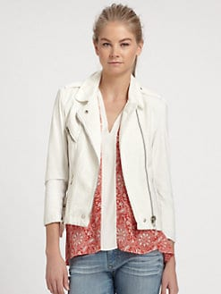 Rebecca Taylor - Leather & Cotton Moto Jacket