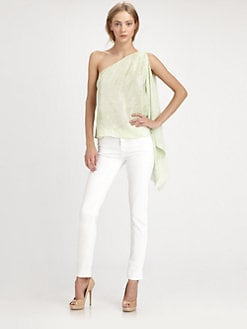Robert Rodriguez - Crystal Silk One-Shoulder Top