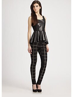 Rebecca Minkoff - Leather Hi-Low Peplum Tank