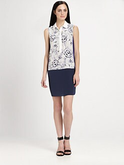 Rebecca Taylor - Colorblock Floral Silk Dress