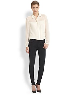 Tibi - Paneled Silk Shirt
