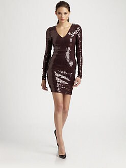 Robert Rodriguez - Sequined V-Neck Dress